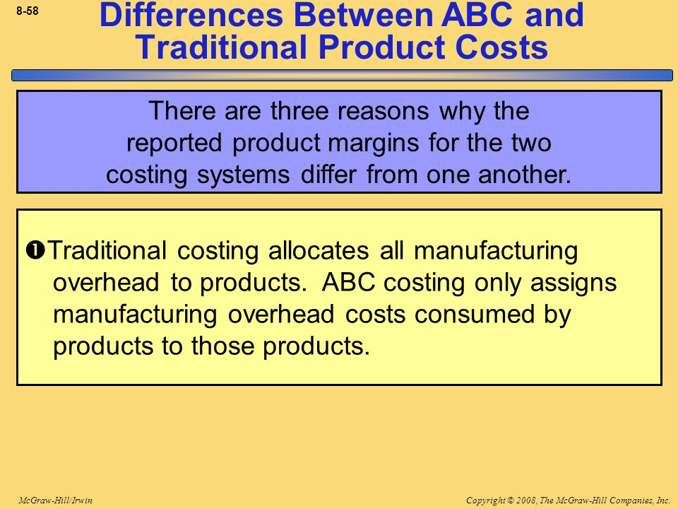 Copyright © 2008, The McGraw-Hill Companies, Inc.McGraw-Hill/Irwin 8-58 Differences Between ABC and Traditional Product Costs There are three reasons why the reported product margins for the two costing systems differ from one another.