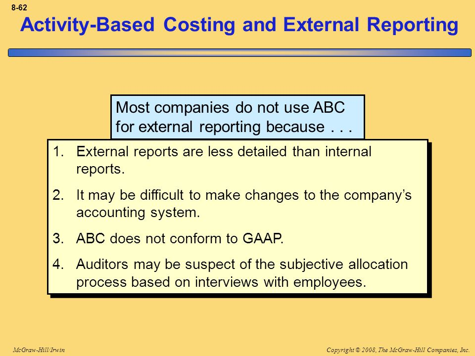 Copyright © 2008, The McGraw-Hill Companies, Inc.McGraw-Hill/Irwin 8-62 Activity-Based Costing and External Reporting Most companies do not use ABC fo