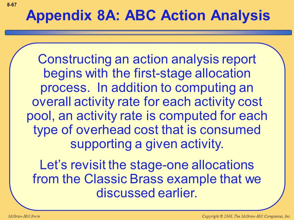 Copyright © 2008, The McGraw-Hill Companies, Inc.McGraw-Hill/Irwin 8-67 Constructing an action analysis report begins with the first-stage allocation