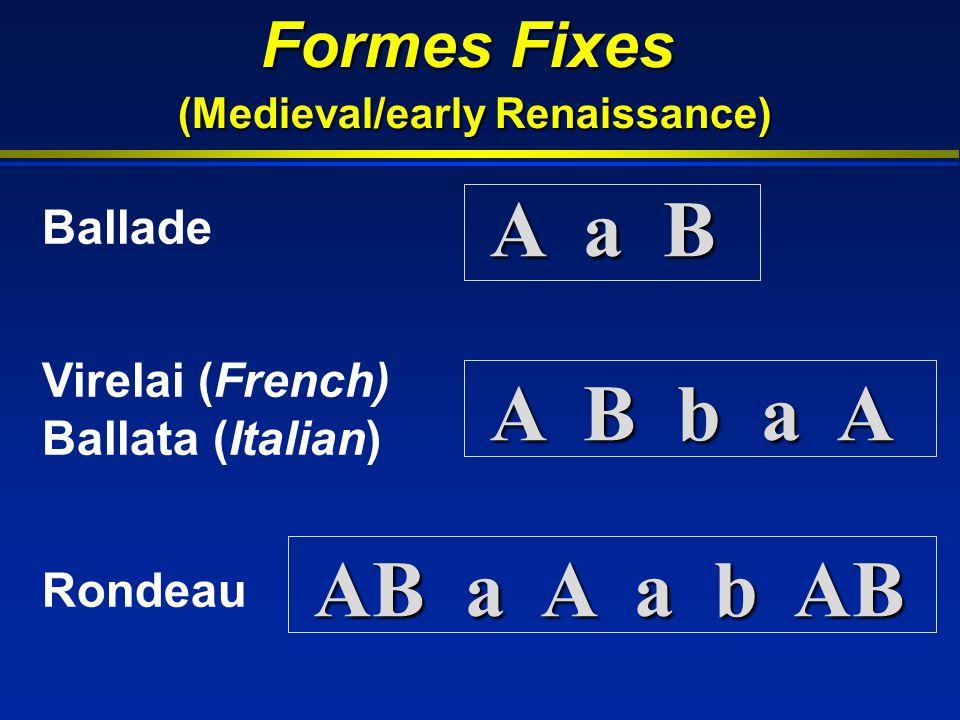 Formes Fixes (Medieval/early Renaissance) Ballade Virelai (French) Ballata (Italian) Rondeau A a B A B b a A AB a A a b AB