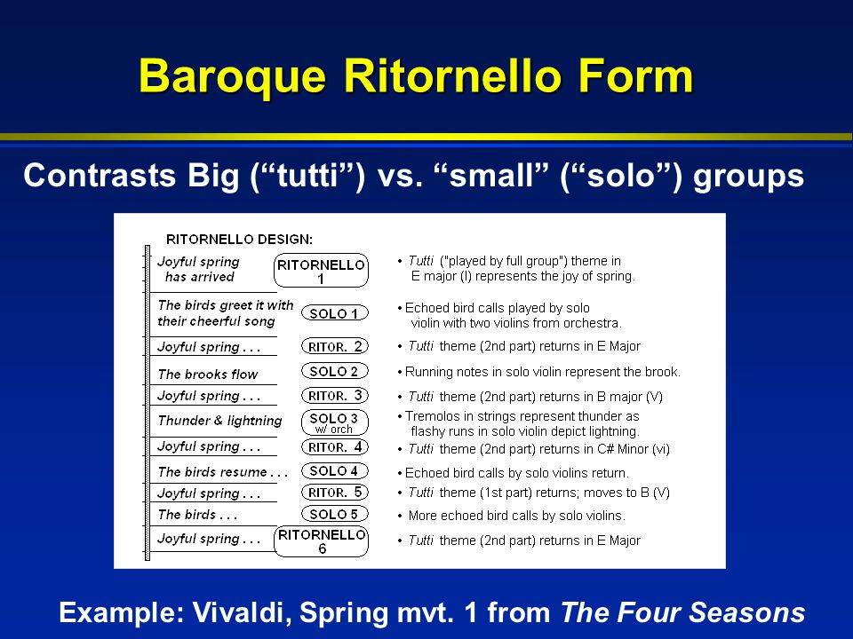 "Baroque Ritornello Form Contrasts Big (""tutti"") vs. ""small"" (""solo"") groups Example: Vivaldi, Spring mvt. 1 from The Four Seasons"