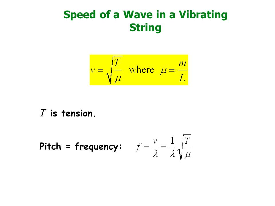 Speed of a Wave in a Vibrating String T is tension. Pitch = frequency: