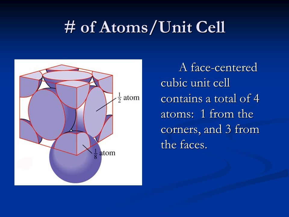 # of Atoms/Unit Cell A face-centered cubic unit cell contains a total of 4 atoms: 1 from the corners, and 3 from the faces.