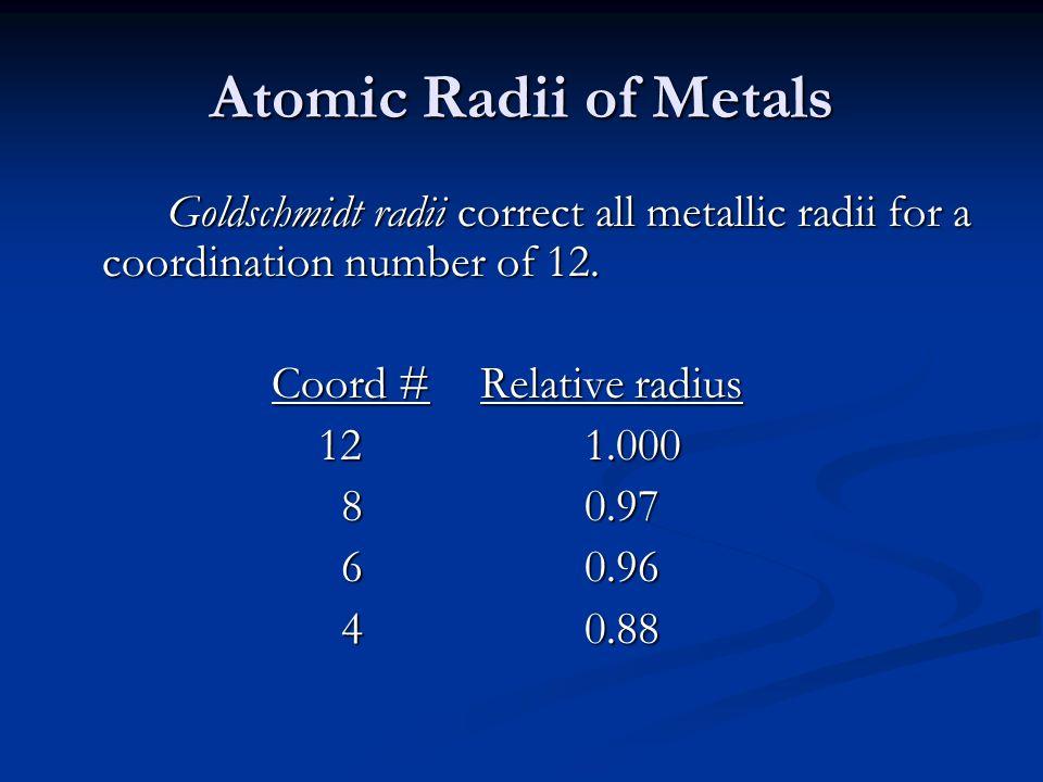 Atomic Radii of Metals Goldschmidt radii correct all metallic radii for a coordination number of 12. Coord #Relative radius 121.000 121.000 80.97 80.9