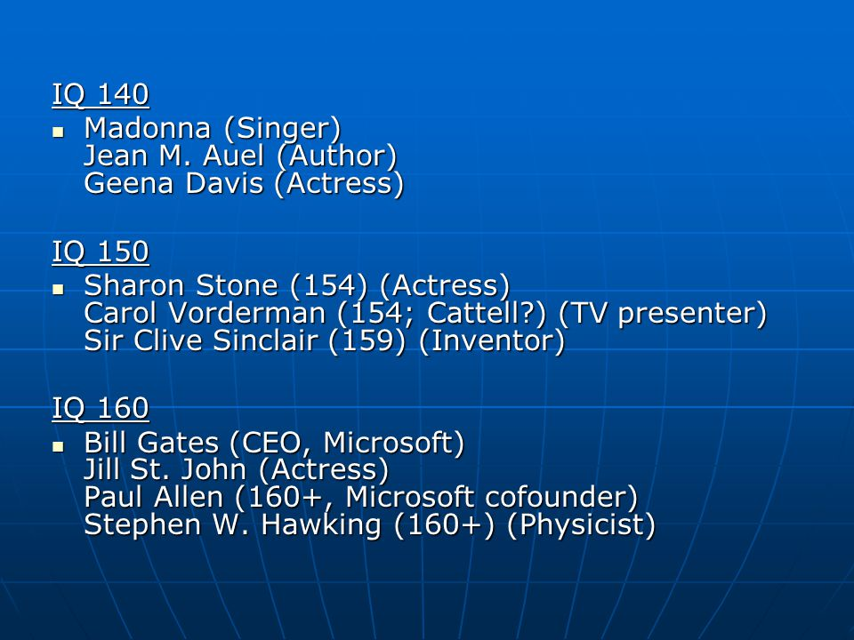 IQ 140 Madonna (Singer) Jean M. Auel (Author) Geena Davis (Actress) Madonna (Singer) Jean M.