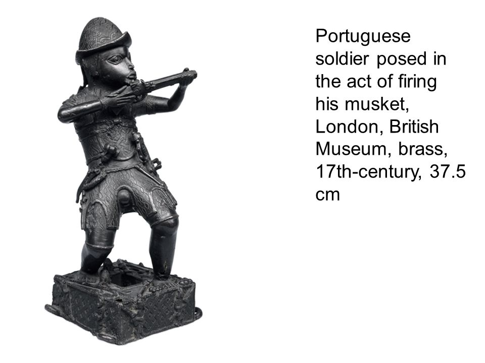Portuguese soldier posed in the act of firing his musket, London, British Museum, brass, 17th-century, 37.5 cm