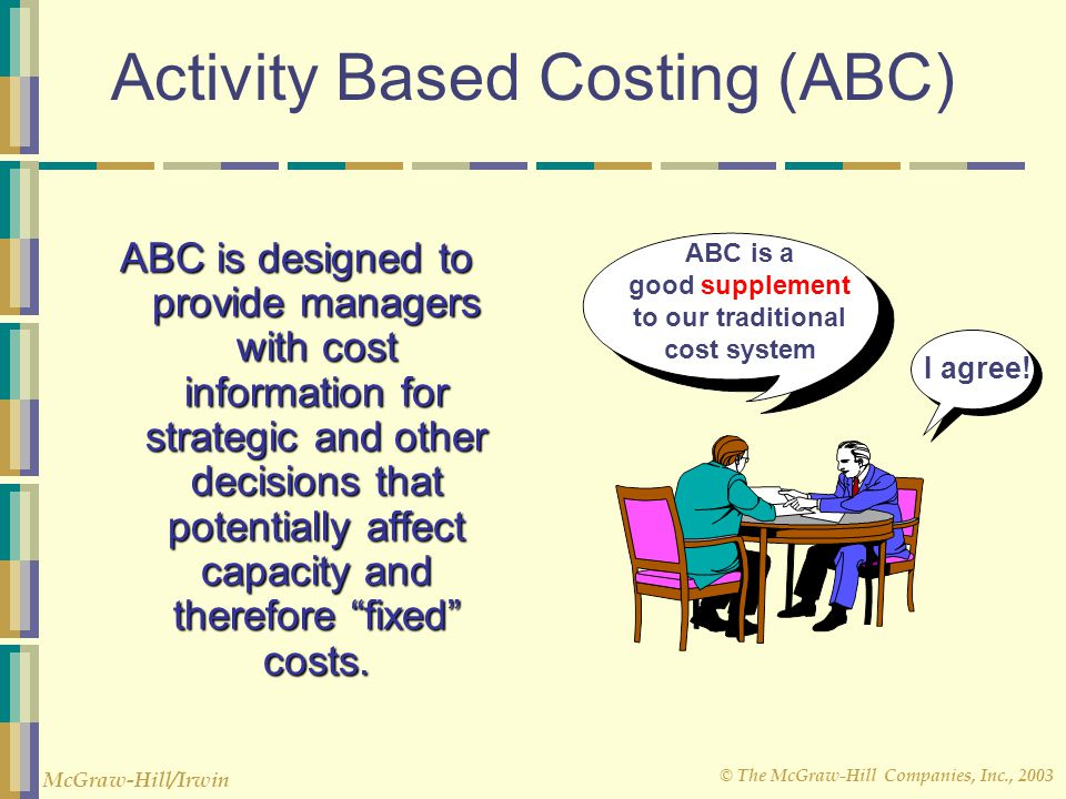 © The McGraw-Hill Companies, Inc., 2003 McGraw-Hill/Irwin Activity Based Costing (ABC) ABC is designed to provide managers with cost information for strategic and other decisions that potentially affect capacity and therefore fixed costs.