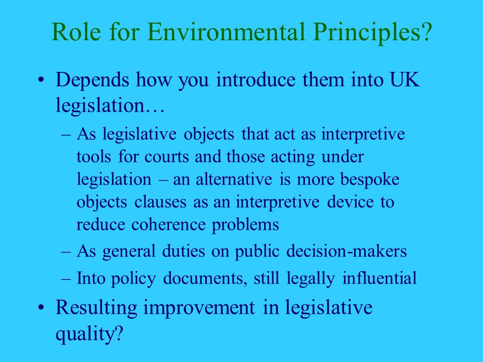 Role for Environmental Principles.