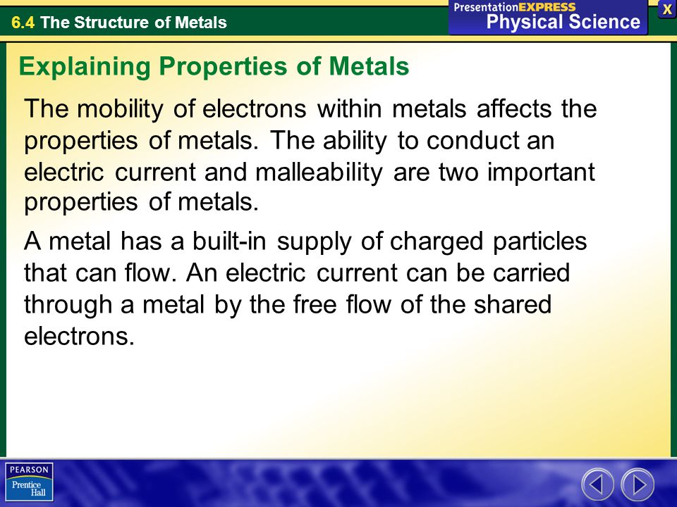 6.4 The Structure of Metals Assessment Questions 1.What force holds the atoms of a metal together.