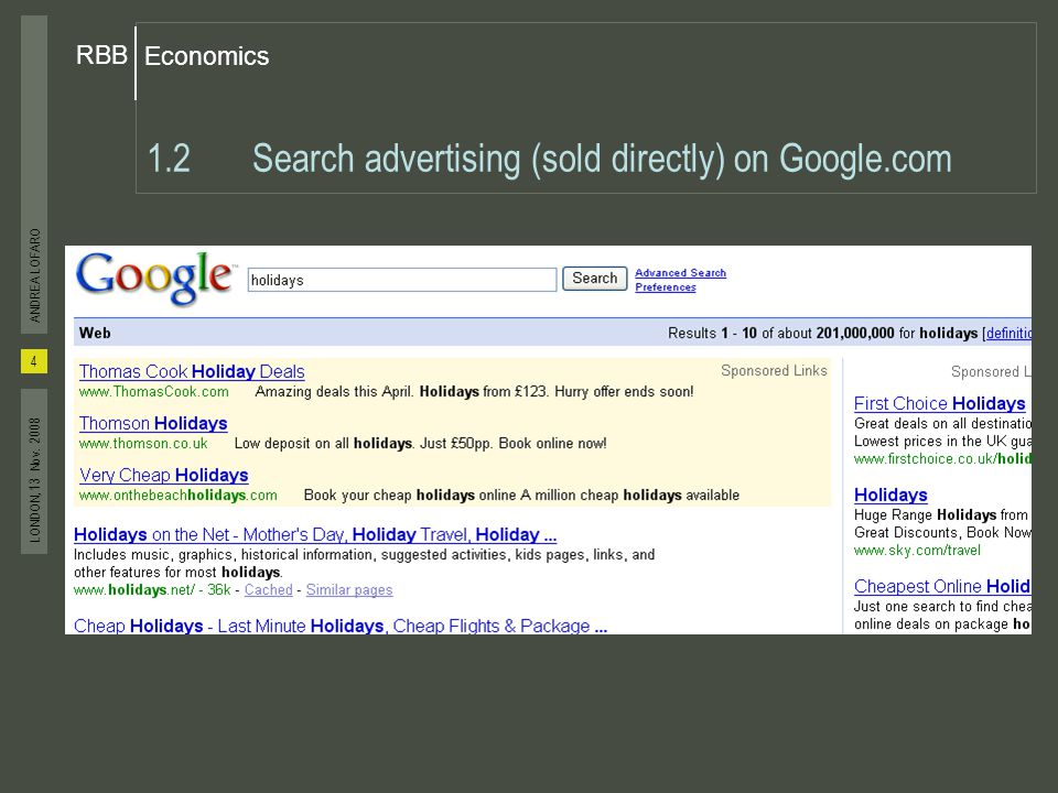 Economics RBB 4 ANDREA LOFARO LONDON, 13 Nov. 2008 1.2Search advertising (sold directly) on Google.com