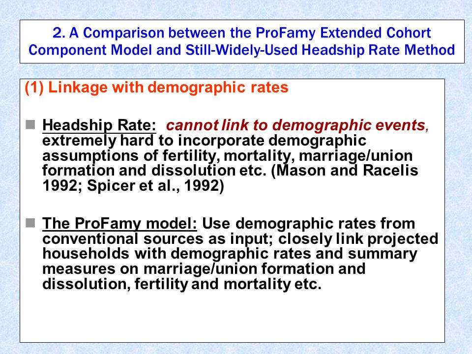 2. A Comparison between the ProFamy Extended Cohort Component Model and Still-Widely-Used Headship Rate Method (1) Linkage with demographic rates Head