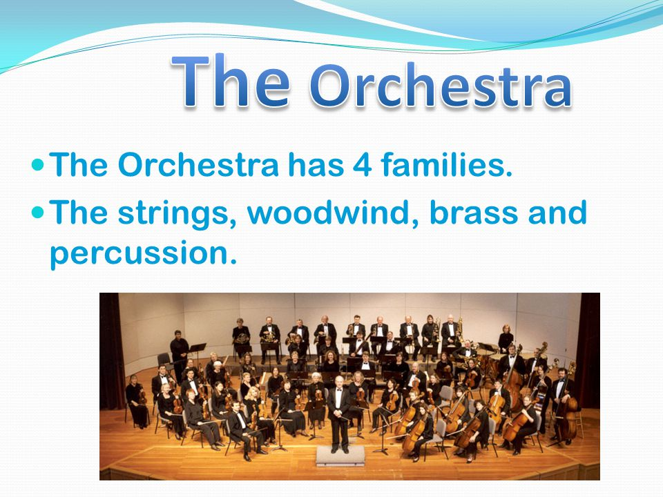 The Orchestra has 4 families. The strings, woodwind, brass and percussion.
