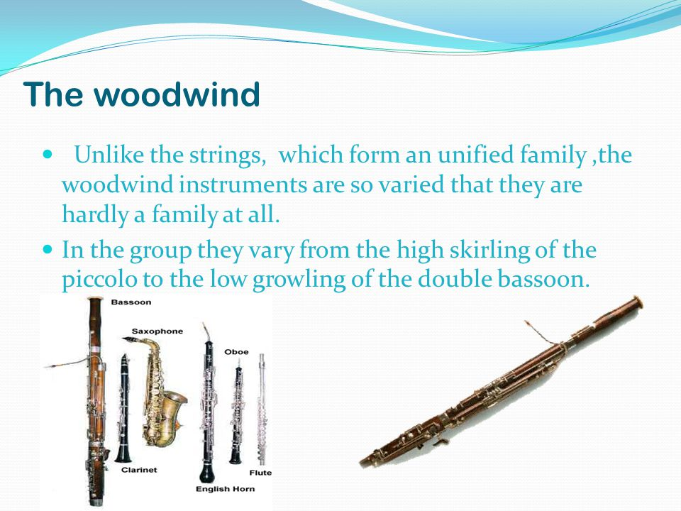 The woodwind Unlike the strings, which form an unified family,the woodwind instruments are so varied that they are hardly a family at all.