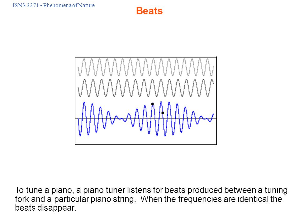ISNS 3371 - Phenomena of Nature To tune a piano, a piano tuner listens for beats produced between a tuning fork and a particular piano string.