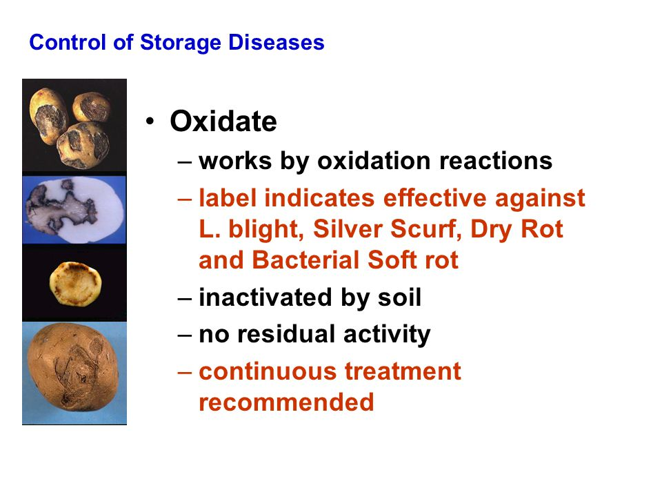 Control of Storage Diseases Oxidate –works by oxidation reactions –label indicates effective against L.