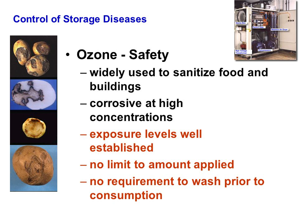 Control of Storage Diseases Ozone - Safety –widely used to sanitize food and buildings –corrosive at high concentrations –exposure levels well established –no limit to amount applied –no requirement to wash prior to consumption