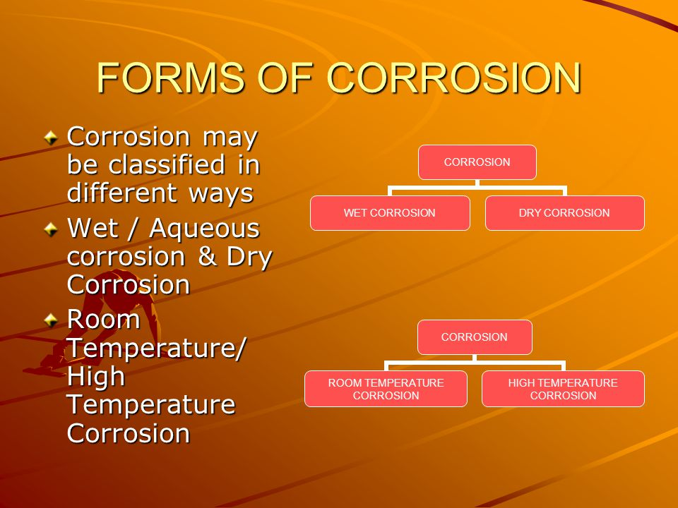 FORMS OF CORROSION Corrosion may be classified in different ways Wet / Aqueous corrosion & Dry Corrosion Room Temperature/ High Temperature Corrosion CORROSION WET CORROSION DRY CORROSION CORROSION ROOM TEMPERATURE CORROSION HIGH TEMPERATURE CORROSION
