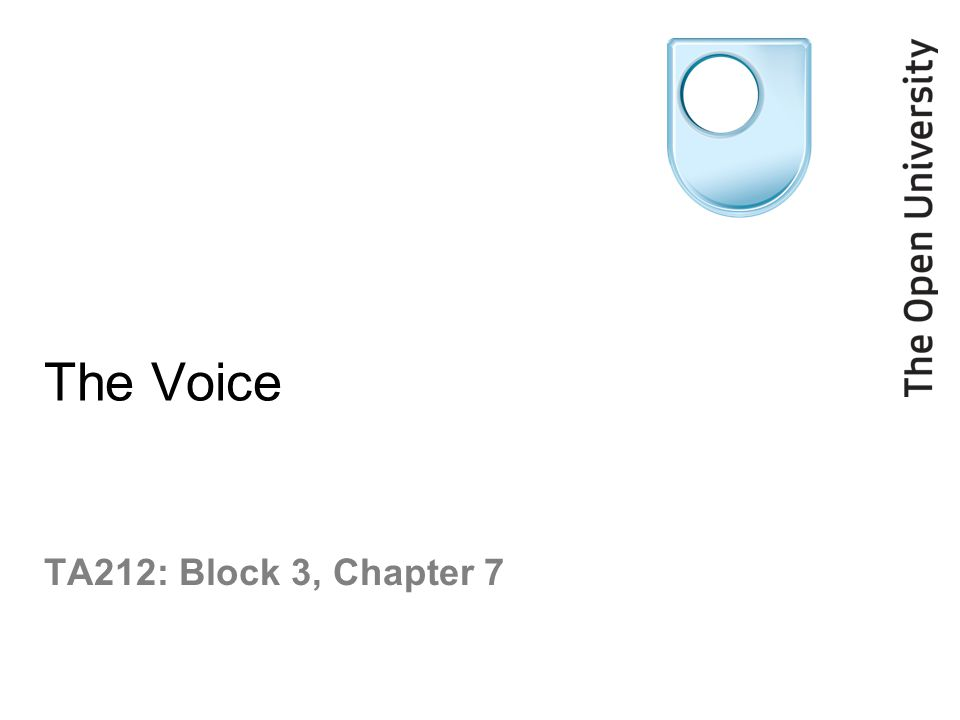 The Voice TA212: Block 3, Chapter 7