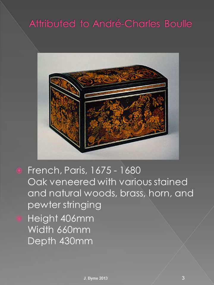  French, Paris, 1675 - 1680 Oak veneered with various stained and natural woods, brass, horn, and pewter stringing  Height 406mm Width 660mm Depth 430mm 3 J.
