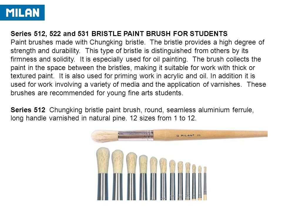Series 512, 522 and 531 BRISTLE PAINT BRUSH FOR STUDENTS Paint brushes made with Chungking bristle.