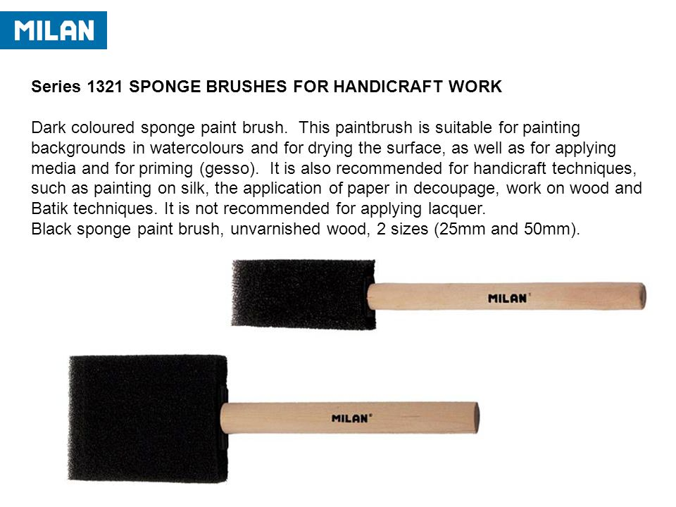 Series 1321 SPONGE BRUSHES FOR HANDICRAFT WORK Dark coloured sponge paint brush.