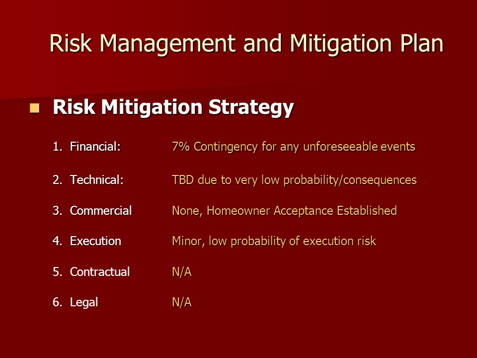 Risk Management and Mitigation Plan Risk Management and Mitigation Plan Risk Mitigation Strategy Risk Mitigation Strategy 1.