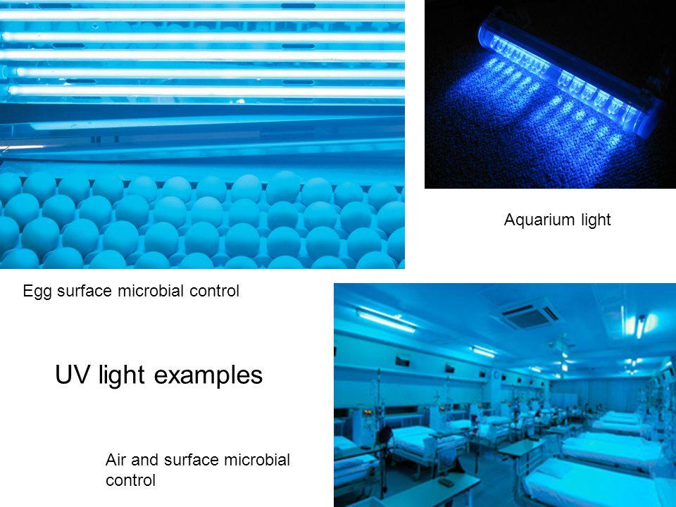 UV light examples Aquarium light Air and surface microbial control Egg surface microbial control