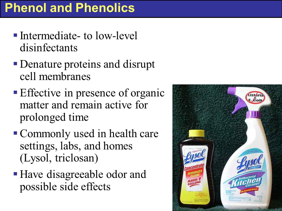 Phenol and Phenolics  Intermediate- to low-level disinfectants  Denature proteins and disrupt cell membranes  Effective in presence of organic matter and remain active for prolonged time  Commonly used in health care settings, labs, and homes (Lysol, triclosan)  Have disagreeable odor and possible side effects