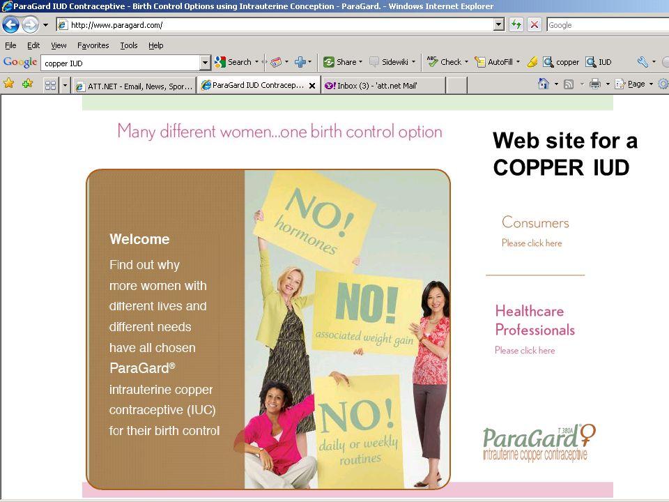 Web site for a COPPER IUD