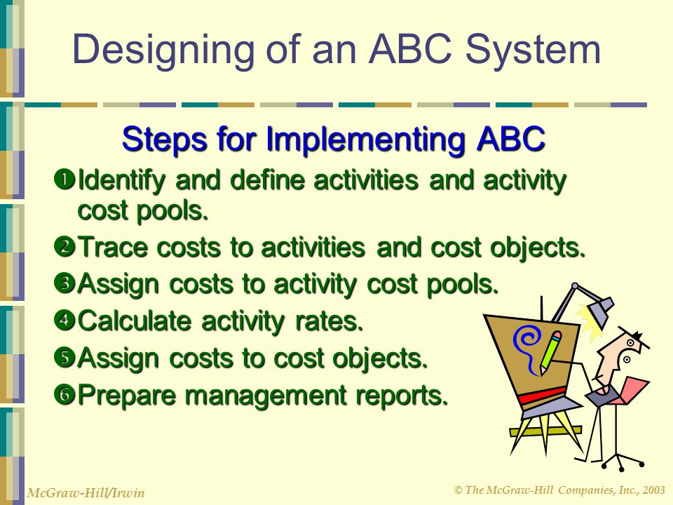 © The McGraw-Hill Companies, Inc., 2003 McGraw-Hill/Irwin Designing of an ABC System Steps for Implementing ABC  Identify and define activities and activity cost pools.