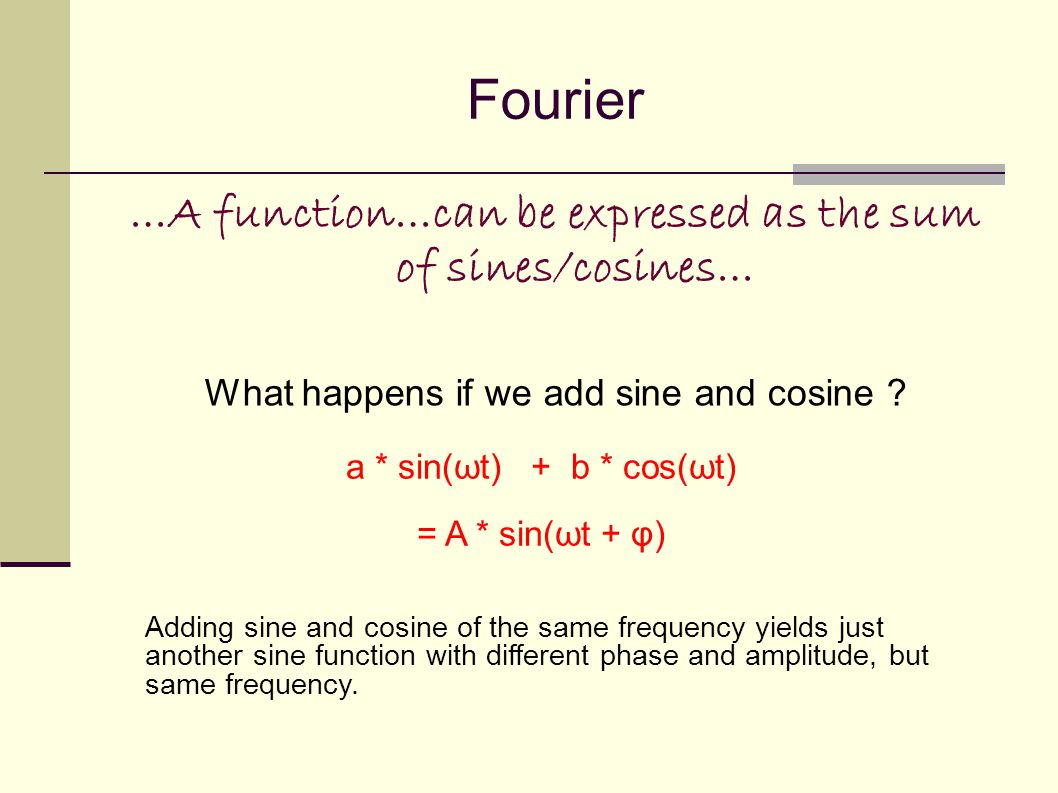 Fourier …A function…can be expressed as the sum of sines/cosines… What happens if we add sine and cosine .