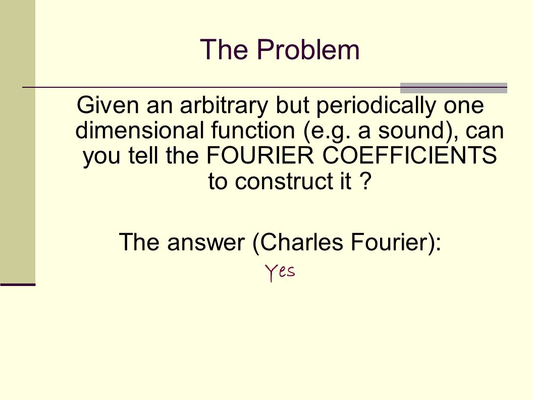The Problem Given an arbitrary but periodically one dimensional function (e.g.