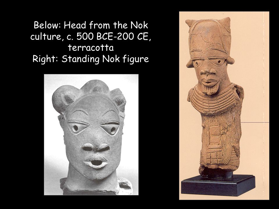Nok culture/ problems of preservation of African art/ stylization vs.