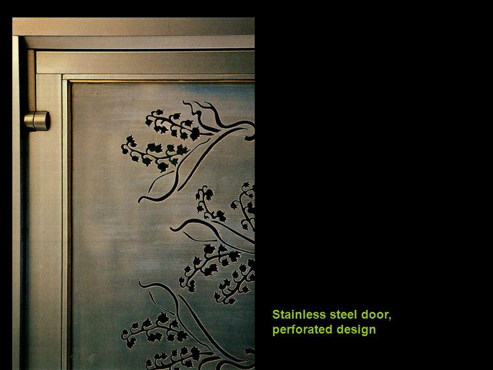 Stainless steel door, perforated design
