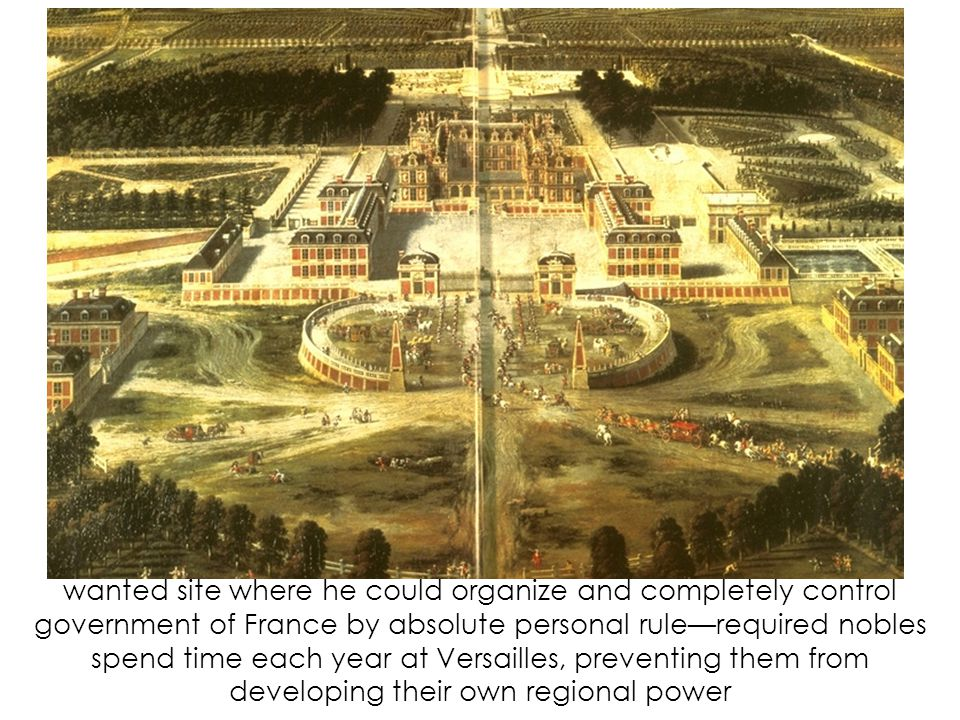 wanted site where he could organize and completely control government of France by absolute personal rule—required nobles spend time each year at Versailles, preventing them from developing their own regional power