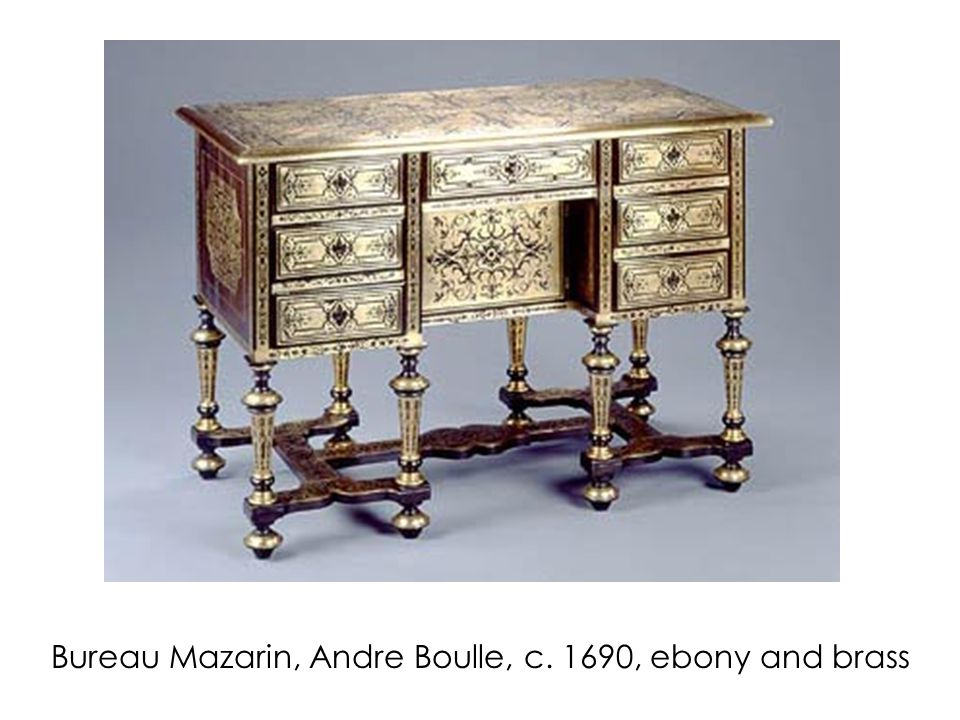Bureau Mazarin, Andre Boulle, c. 1690, ebony and brass
