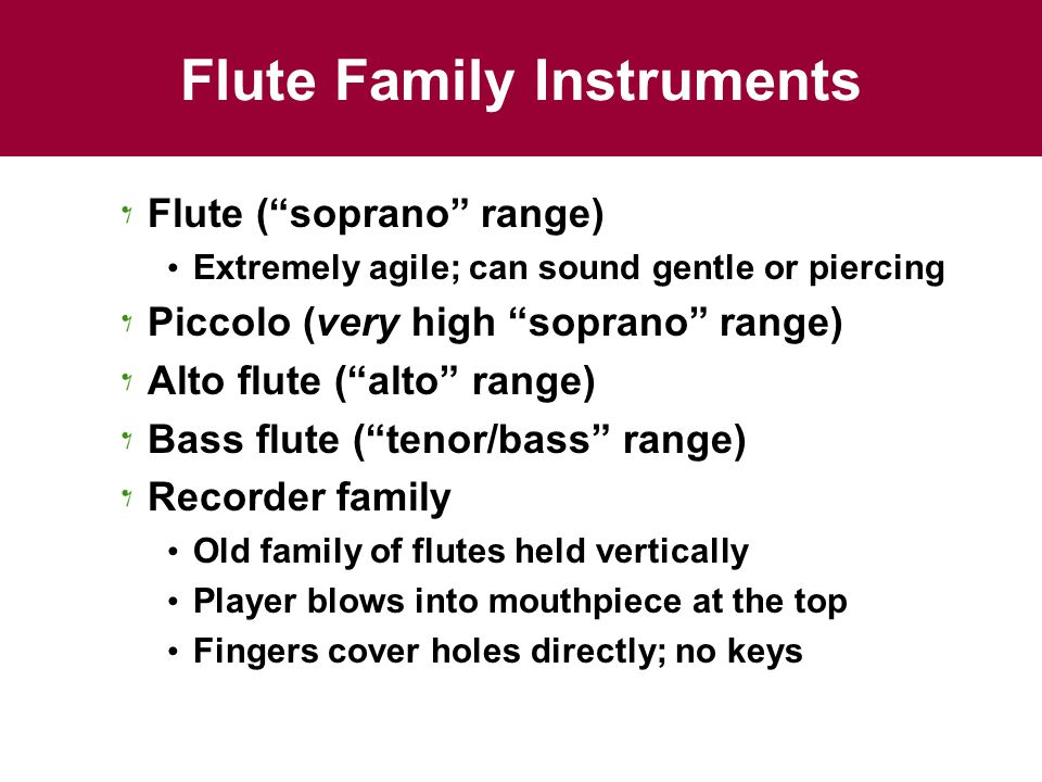 Flute Family Instruments Flute ( soprano range) Extremely agile; can sound gentle or piercing Piccolo (very high soprano range) Alto flute ( alto range) Bass flute ( tenor/bass range) Recorder family Old family of flutes held vertically Player blows into mouthpiece at the top Fingers cover holes directly; no keys