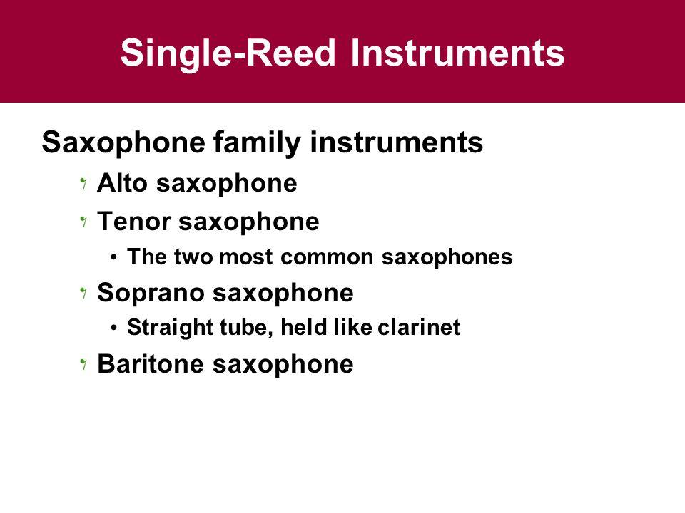 Single-Reed Instruments Saxophone family instruments Alto saxophone Tenor saxophone The two most common saxophones Soprano saxophone Straight tube, held like clarinet Baritone saxophone