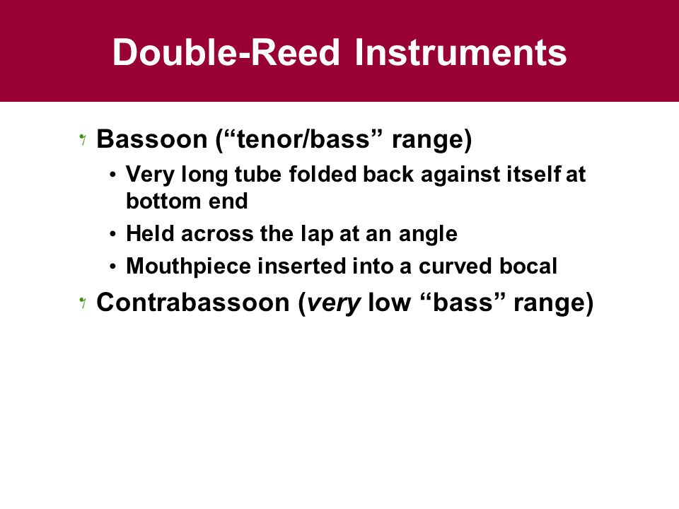 Double-Reed Instruments Bassoon ( tenor/bass range) Very long tube folded back against itself at bottom end Held across the lap at an angle Mouthpiece inserted into a curved bocal Contrabassoon (very low bass range)