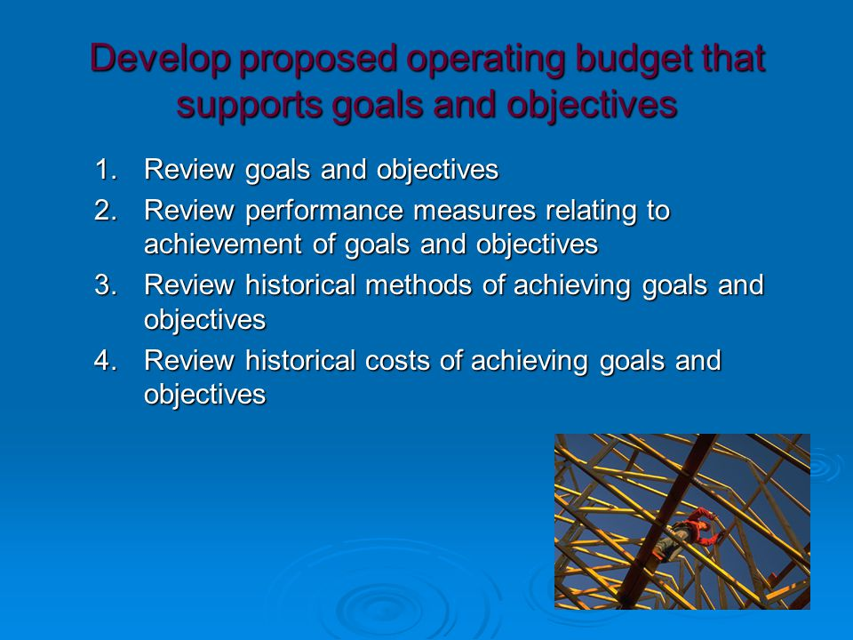 Develop proposed operating budget that supports goals and objectives 1.Review goals and objectives 2.Review performance measures relating to achievement of goals and objectives 3.Review historical methods of achieving goals and objectives 4.Review historical costs of achieving goals and objectives