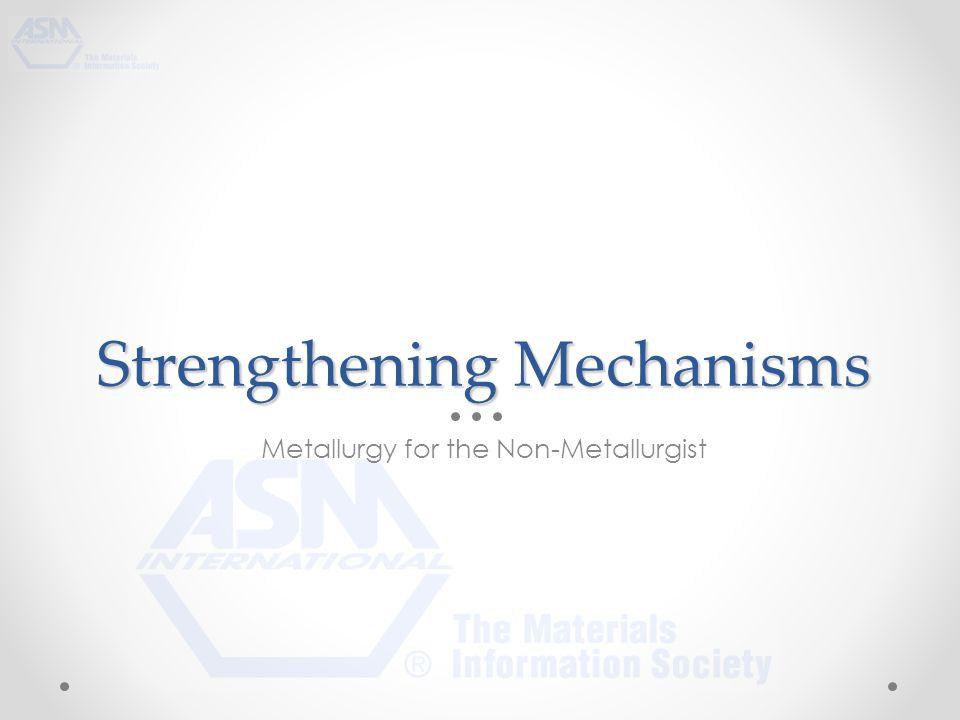 Strengthening Mechanisms Metallurgy for the Non-Metallurgist