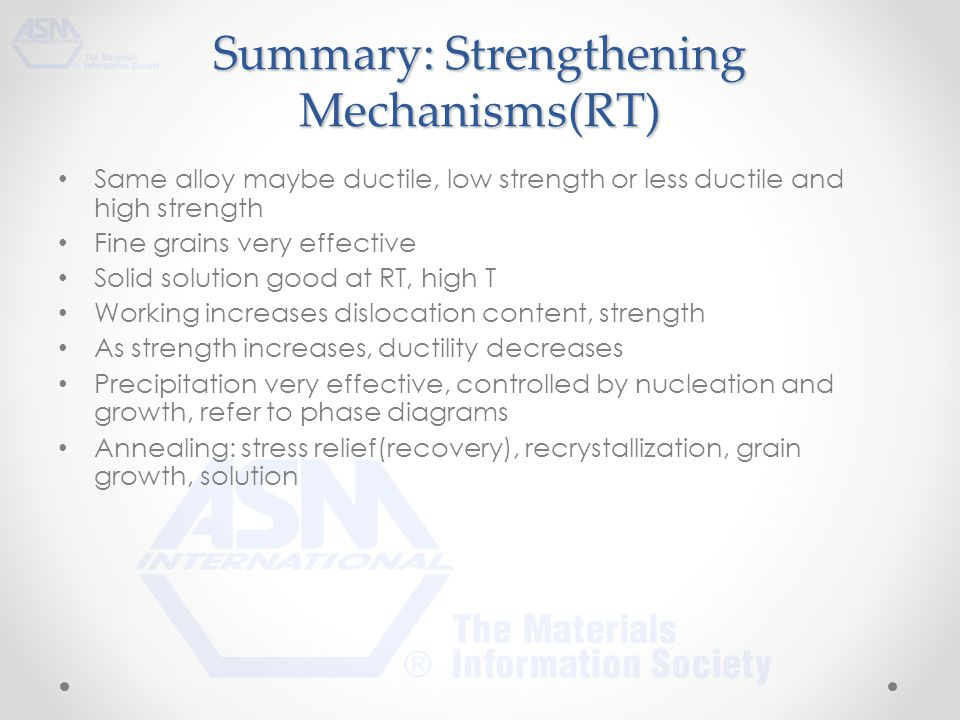 Summary: Strengthening Mechanisms(RT) Same alloy maybe ductile, low strength or less ductile and high strength Fine grains very effective Solid solution good at RT, high T Working increases dislocation content, strength As strength increases, ductility decreases Precipitation very effective, controlled by nucleation and growth, refer to phase diagrams Annealing: stress relief(recovery), recrystallization, grain growth, solution