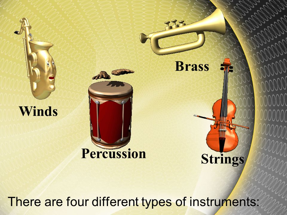 There are four different types of instruments: Percussion Strings Brass Winds