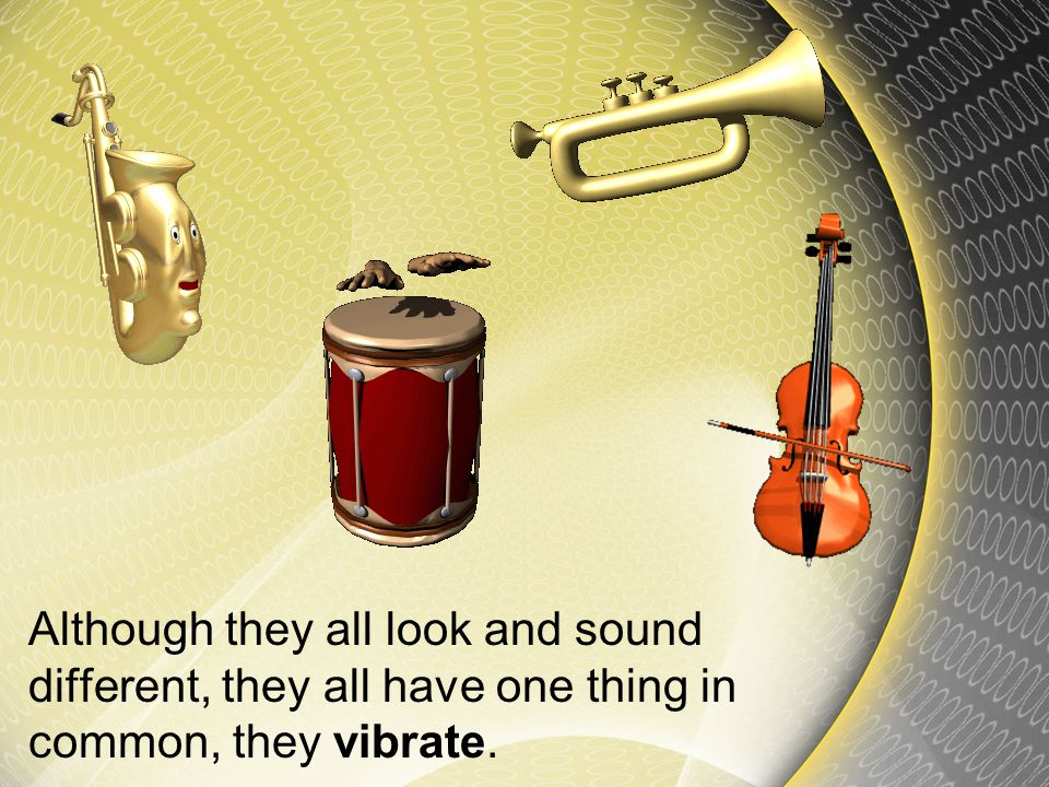 Although they all look and sound different, they all have one thing in common, they vibrate.
