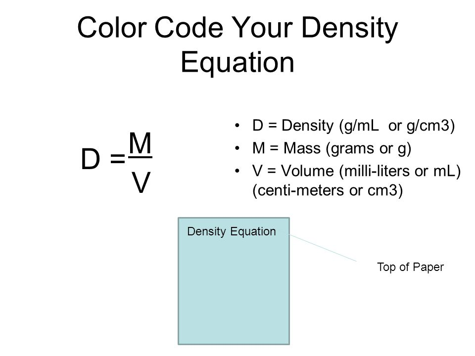 Color Code Your Density Equation D = Density (g/mL or g/cm3) M = Mass (grams or g) V = Volume (milli-liters or mL) (centi-meters or cm3) D = M V Densi