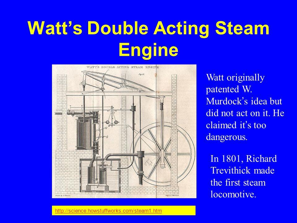 Watt's Double Acting Steam Engine http://science.howstuffworks.com/steam1.htm Watt originally patented W.