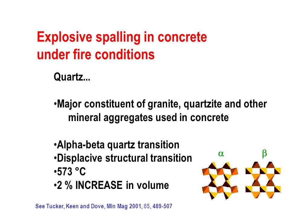 Explosive spalling in concrete under fire conditions Quartz... Major constituent of granite, quartzite and other mineral aggregates used in concrete A