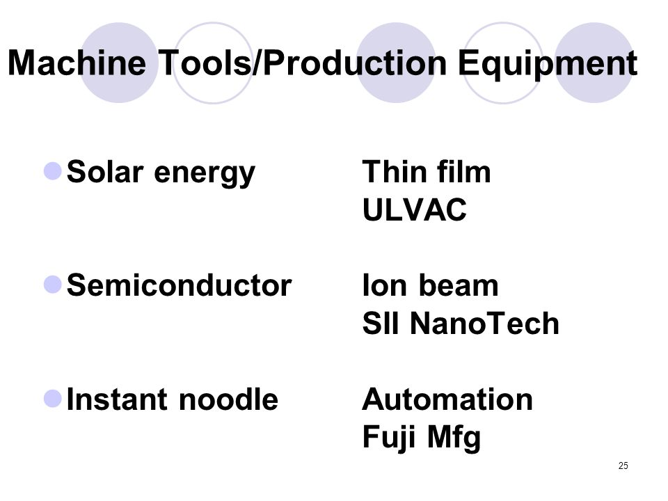 25 Machine Tools/Production Equipment Solar energy Semiconductor Instant noodle Thin film ULVAC Ion beam SII NanoTech Automation Fuji Mfg