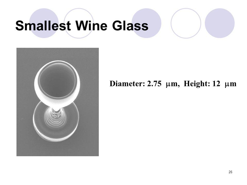26 Smallest Wine Glass Diameter: 2.75  m, Height: 12  m