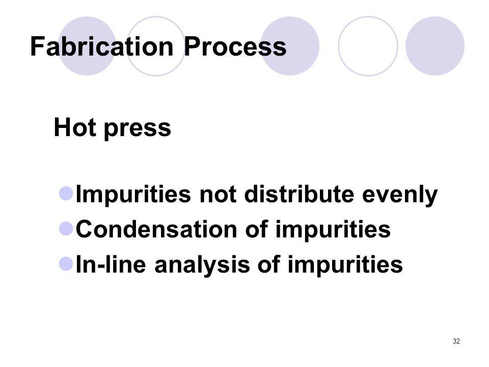 32 Fabrication Process Hot press Impurities not distribute evenly Condensation of impurities In-line analysis of impurities